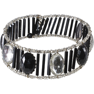 Miriam Haskell Disco Dog Collar Black Clear Necklace