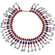 Miriam Haskell Egyptian Revival Collar Necklace 1970s