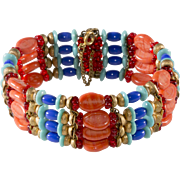 Miriam Haskell Egyptian Style Beaded Wrap Bracelet