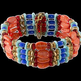 Miriam Haskell Egyptian Style Beaded Wrap Bracelet