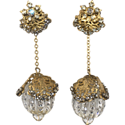 Miriam Haskell Long Dangle Glass Ball Earrings with Rhinestones