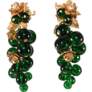 Miriam Haskell Green Glass Dangles Grapes Earrings
