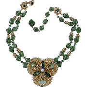 Miriam Haskell Green Bead Necklace with Rose Montee Rhinestones
