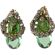 Miriam Haskell Green Glass Rhinestones Earrings Vintage