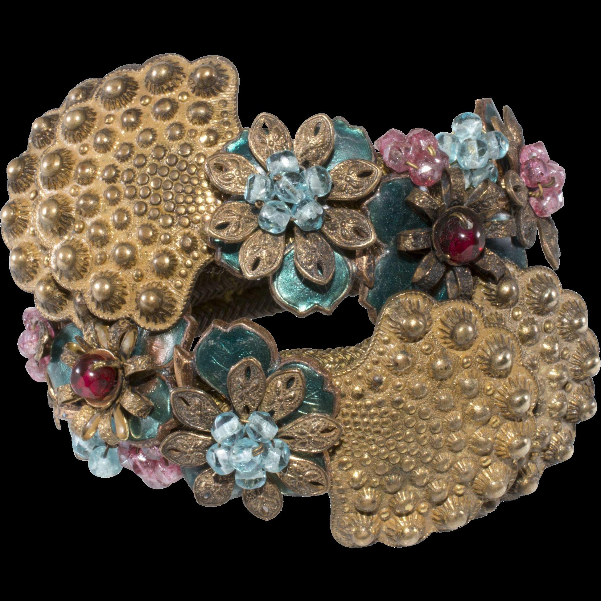 Miriam Haskell 1940s Enamel and Bead Wrap Bracelet by Frank Hess