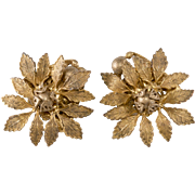 Miriam Haskell Gold Plated Leaf Cluster Earrings Vintage