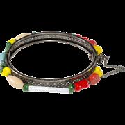 Miriam Haskell Multicolored Glass Bead Hinged Bangle Bracelet