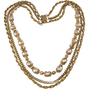Miriam Haskell Faux Pearl Necklace with Layered Chains Vintage