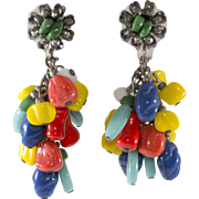 Miriam Haskell Colorful Dangle Bead Earrings