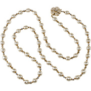 Miriam Haskell 36 Inch Faux Pearl Necklace with Clear Rhinestones