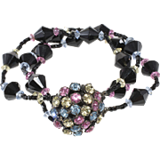 Miriam Haskell Pastel Rhinestones Black Beaded Bracelet