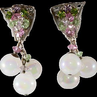 Miriam Haskell Pastel Dangle Iridescent Bead Earrings