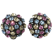 Miriam Haskell Pastel Rhinestone Earrings