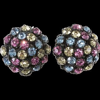Miriam Haskell Pastel Rhinestone Earrings