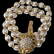 Miriam Haskell Triple Strand Pearl Bracelet
