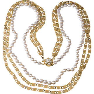 Miriam Haskell Pearl and Paperclip Chain 30 Inch Necklace