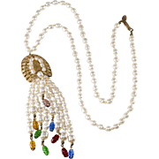 Miriam Haskell Faux Pearl Jewel Tone Dangle Bead Necklace