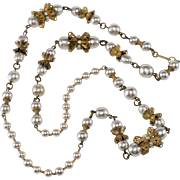 "Miriam Haskell 30"" Faux Pearl Necklace with Filigree Findings"