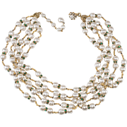 Miriam Haskell Five Strand Faux Pearl Necklace with Green Rhinstones