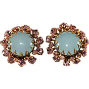 Miriam Haskell Pink Rhinestone and Glass Cabochon Earrings Vintage