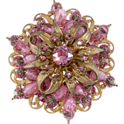 Miriam Haskell Pink Bead & Rhinestone Brooch Pin