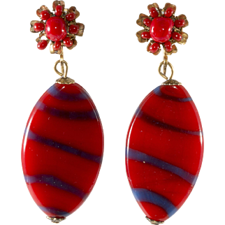 Miriam Haskell Red Striped Glass Dangle Earrings