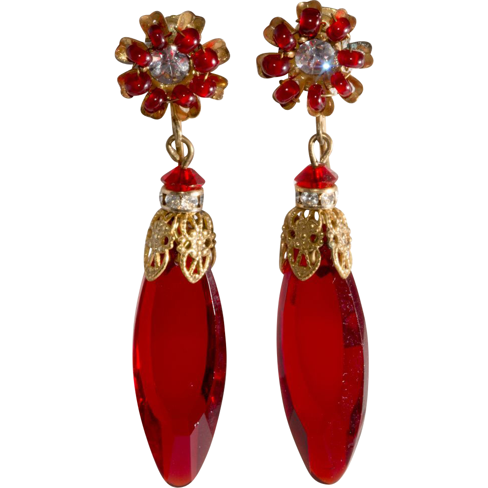 Miriam Haskell Red Glass Dangle Earrings