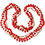Miriam Haskell Necklace Red Melon Beads with Pearls and Rhinestones