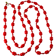 Miriam Haskell 60-inch Orange Red Glass Bead Necklace
