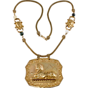 Miriam Haskell Sphinx Egyptian Revival Necklace