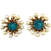Miriam Haskell Faux Pearl and Teal Crystal Earrings Vintage