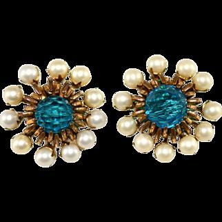 Miriam Haskell Faux Pearl and Teal Crystal Earrings Vintage