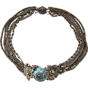 Miriam Haskell Floral Necklace Turquoise with Marcasites