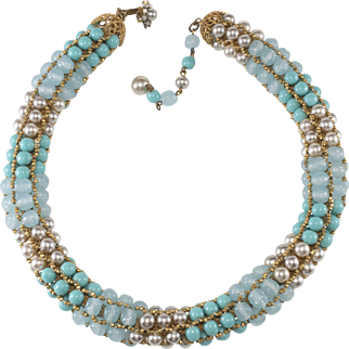 Miriam Haskell Turquoise Faux Pearl Beaded Rope Necklace Vintage