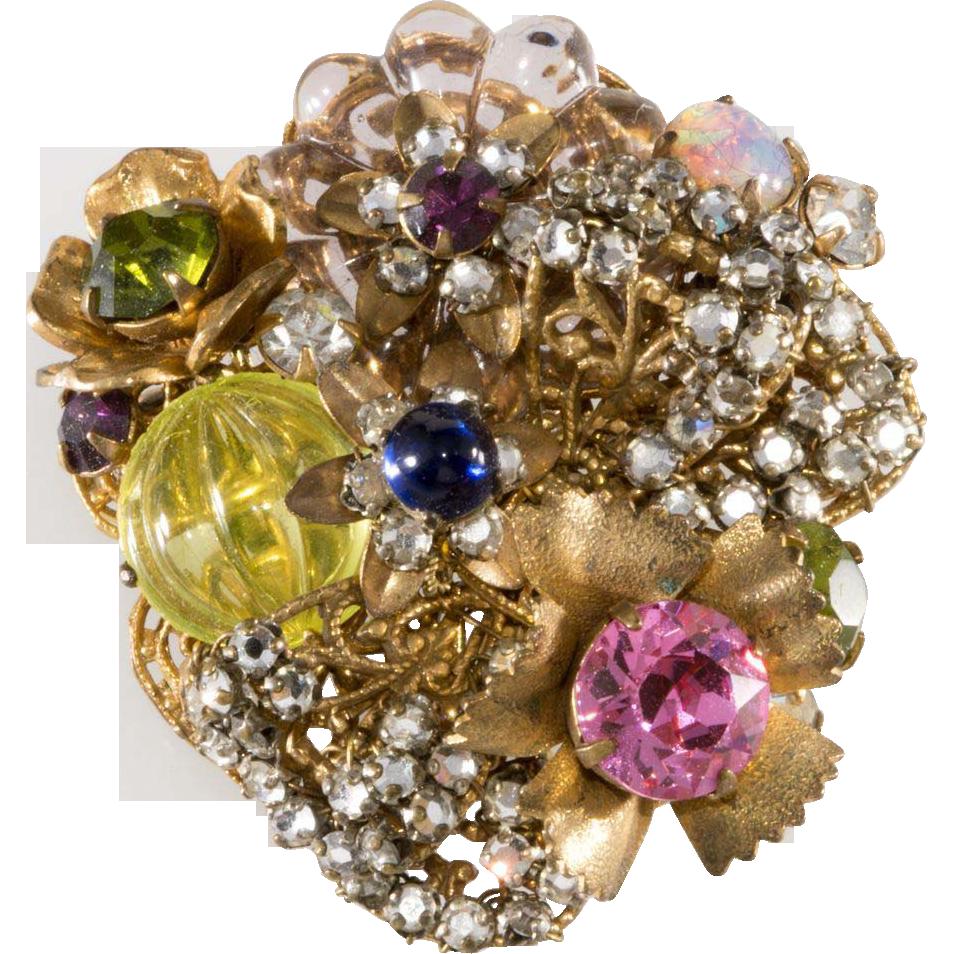 Miriam Haskell Vaseline Glass Rhinestone Brooch