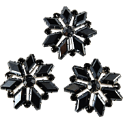 Set of 3 Hematite and Black Rhinestone Brooches Vintage