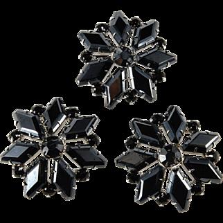 Set of 3 Hematite and Black Rhinestone Brooches Vintage