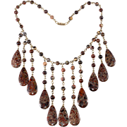 Hobe' Bib Necklace Waterfall of Natural Stone Beads