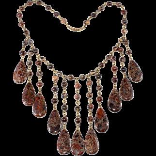 Hobe' Bib Necklace Waterfall of Natural Stone Beads