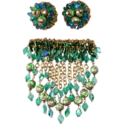Hobe' Green Beaded Dangle Brooch Earrings Set Vintage 1960s