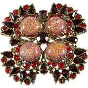 Hobe' Red Foiled Cabochon Rhinestones Brooch Pin 1960s Vintage