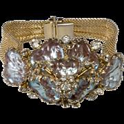 Hobe' 1957 Saphiret Sappharine Art Glass Rhinestone Bracelet