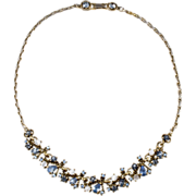Hollycraft 1950s Moonstone & Blue Rhinestone Necklace