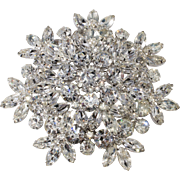 HUGE 4-Inch Clear Rhinestone Brooch Pin Vintage