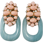 Iradj Moini Statement Door Knocker Earrings Pink and Blue Stone