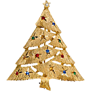 J.J. Star Cut 1960s Rhinestone Christmas Tree Pin