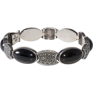 Judith Jack Sterling Silver Black Onyx Marcasite Bracelet