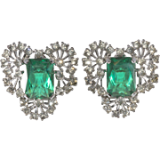 Jomaz Clear and Emerald Green Rhinestones Earrings Vintage