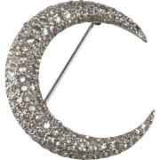 Jomaz Clear Rhinestones Crescent Moon Brooch Pin Vintage