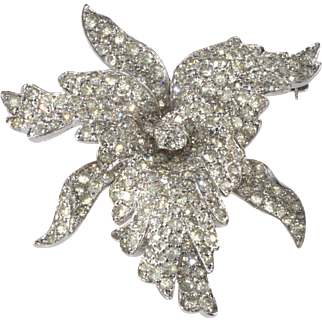 Jomaz Clear Rhinestone Orchid Flower Brooch Pin Vintage